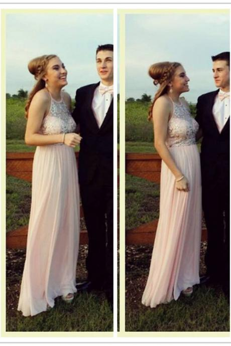 Juniors Pink Beaded Sheer Halter Top Long Prom Dress